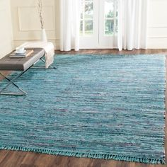Shop for Safavieh Hand-woven Rag Rug Blue Cotton Rug (3' x 5'). Free Shipping on orders over $45 at Overstock.com - Your Online Home Decor Outlet Store! Get 5% in rewards with Club O!