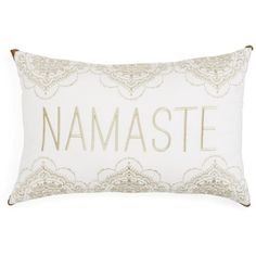 "Sky Alana Namaste Decorative Pillow, 14"" x 22"" (150 CAD) ❤ liked on Polyvore featuring home, home decor, throw pillows, gold, gold home decor, inspirational throw pillows, gold home accessories, inspirational home decor and metallic gold throw pillows"