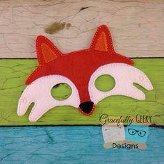 Fox Felt Mask Embroidery Design - 5x7 Hoop or Larger