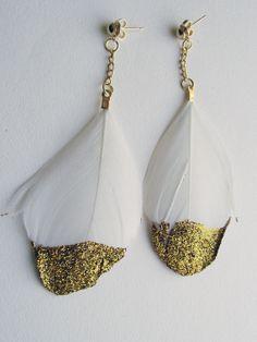 Boucles d'Oreilles Plumes Glitter or (modèle mono)
