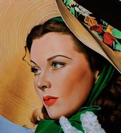 The straw hatAfter Tamara de Lempicka. portrait painted in watercolor. The size is 14X10 inches, 35X25 cm