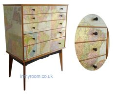 Decoupage in Vintage Maps Chest of Drawers by Alfred Cox: Inspiration for a DIY. for possible future project. Upcycled Furniture, Furniture Projects, Vintage Furniture, Home Projects, Painted Furniture, Home Furniture, Dresser Furniture, Furniture Makeover, Vintage Maps