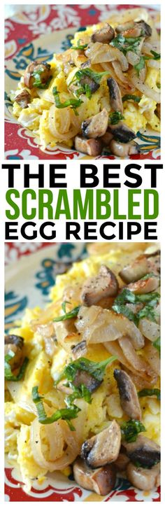 Fresh onions and mushrooms make this scrambled egg recipe shine! It's filled with healthy ingredients and tons of flavor. Quick and easy breakfast recipe. via @KnowYourProduce