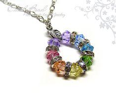 Swarovski Crystal Rondelle Necklace Sweet Rainbow Swarovski