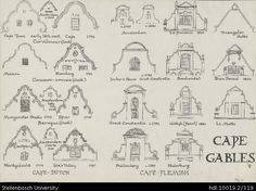 Drawing of Cape gables, depicting CAPE-DUTCH: Cape Town early 18th century Cape 1756 (Curvilinear (Cook)), Amsterdam c.1700, Mamre, Elsenburg 1761 (Concavo-convex (Cook)), Morgenster stable 1779, Spier 1778 (Baroque (Cook)), Amsterdam late 17th century, Nooitgedacht 1774, Ida's Valley 1787. CAPE-FLEMISH: Amsterdam c.1750, c.1650, La Provence 1815, Triangular gable, Jonker's House, Groot Constantia c.1791, Boschendal, Bien Donne 1800, Groot Constantia c.1791, Uitkyk (Paarl) 1820, La Motte…