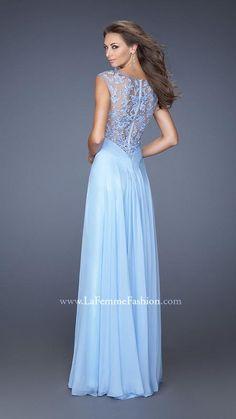 Fashion Light Sky Blue V-neck Empire Chiffon Long Prom Dress In ...