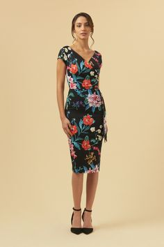 2edc70ceb379 The Pretty Dress Company Hourglass Hibiscus Faux Wrap Pencil Dress The  Pretty Dress Company, Wiggle
