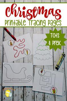 Preschoolers can fine tune their motor skills while they trace these fun Christmas activity pages.   homeschoolpreschool.net via @homeschlprek