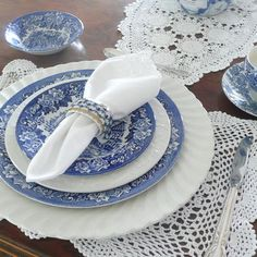Blue and White table setting.