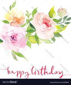 Vector image of Watercolor greeting card flowers Vector Image, includes background, design, flower, garden & petal. Illustrator (.ai), EPS, PDF and JPG image formats.