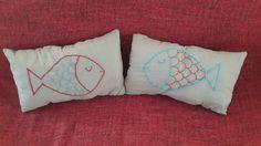 El yapımı balık desenli minder - Handmade fish patterned pillow