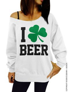 "Use coupon code ""pinterest"" I Clover Beer Sweatshirt - Beer Sweatshirt - St. Patrick's Day Sweatshirt - White Slouchy Oversized Sweatshirt by DentzDenim"