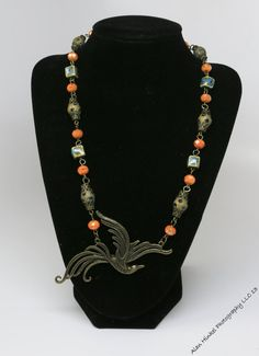 Orange peacock gold colored glass beaded Necklace by Bridget Blue™