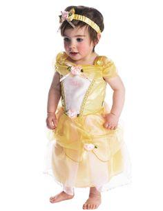 Déguisement Luxe Belle™ bébé : Ce déguisement de Belle™ pour bébé est sous licence officielle Disney™.Il se compose d'une robe, d'une culotte et d'un bandeau.La robe jaune est en tissu...