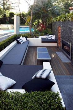 Sitzgruppe-im Garten-Gepolstert Holzterrasse-patio Rolling-Stone-Landscapes Outdoor Lounge, Outdoor Areas, Outdoor Seating, Outdoor Rooms, Outdoor Living, Outdoor Decor, Outdoor Furniture, Garden Seating, Lounge Furniture