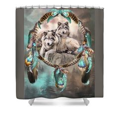 Dream Catcher - Two Wolves Together shower curtain featuring the art of Carol Cavalaris.