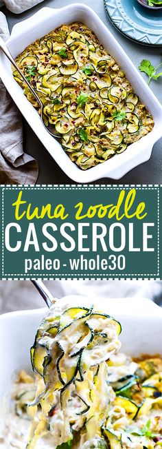 Paleo Tuna Green Chile Zoodle Casserole. An EASY paleo tuna zucchini noodle casserole that's Whole 30 approved, high protein, low carb. Hearty yet healthy, this dish can feed a family! A great way to use your spiralizer and boost your nutrition. @cottercrunch