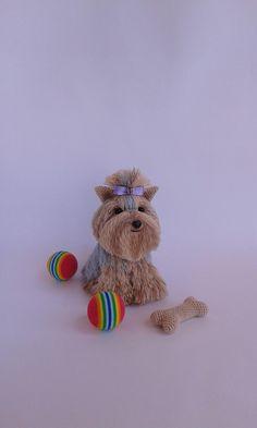 https://www.ArtofSweetMemories.etsy.com Knitted Biver York Terrier Dog, Handmade Knitted Biver Terrier, Biver Yorkshire Terrier Crochet Dog, Stuffed Dog, Amigurumi, Biver, Yorkie