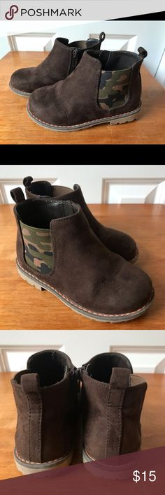 """23e759e6c Gymboree Toddler Ankle Boots Gymboree """"Into The Wild"""" Brown & Camo Boots  with Zipper"""
