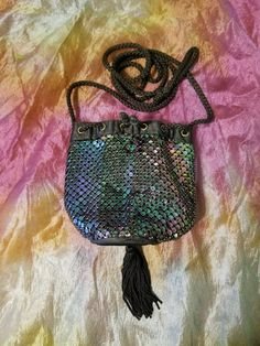 Items similar to Vintage Black Iridescent Mesh sequin-like Bucket Purse evening drawstring bag on Etsy Vintage Outfits, Vintage Fashion, Vintage Clothing, Bucket Purse, Black Sequins, Vintage Black, Iridescent, Handmade Items, Mesh