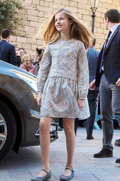 Princess Leonor of Spain arrives for the Easter mass on April 1, 2018 in Palma de Mallorca, Spain.