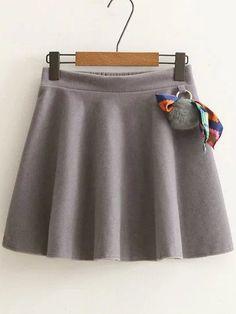 Grey A Line Skirt With Pom