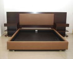 Modern King Platform Bed Frame Built In Side Table And Height Headboard With King Size Bed Frames Plus King Bed Headboard Bed Frame Design, Bedroom Bed Design, Bedroom Furniture Design, Bed Furniture, Master Bedroom, Modern King Bed Frame, King Platform Bed Frame, King Size Bed Frame, Modern Platform Bed