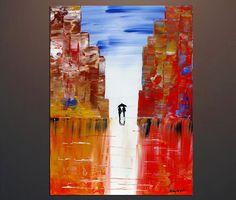 Original; Acrylic Abstract Art Painting City Landscape Tick Textured Urban Rain  #Abstract