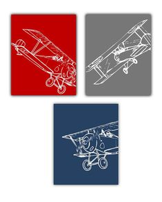 "Art for Boys, Airplane art for Kids Rooms, Nursery art Boys, Set of THREE-8x10"" Prints of airplanes, cute for the aviator room theme"