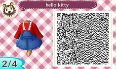 My stash of AC QR codes — dreaminginautumn: Lazy Oaf's Hello Kitty. Animal Crossing Memes, Animal Crossing Qr Codes Clothes, Motif Acnl, Hello Kitty Dress, Ac New Leaf, Say Hi, Design Tutorials, Funny Animals, Crafty
