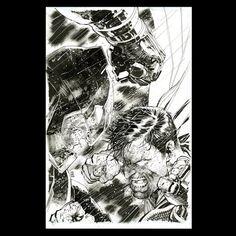 Batman v Superman cover by Jim Lee, DC Comics Batman Comic Art, Batman Vs Superman, Marvel Art, Batman Versus, Comic Book Artists, Comic Artist, Comic Books Art, Jim Lee Batman, Dc Comics