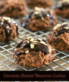 "Chocolate-Almond Macaroon Cookies - If like me you're a fan of all things coconut macaroons are likely one of your favorite ""go to"" indulgences. They're simple to make and satisfy the coconut craving. In this case it includes chocolate, too. Cookie Desserts, Just Desserts, Cookie Recipes, Delicious Desserts, Dessert Recipes, Dessert Ideas, Cookie Cups, Dessert Bars, Hot Chocolate Cookies"