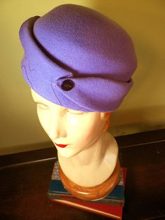 Lilac Hand-Stitched Wool Felt Vintage-Style Hat with Vintage Button, by Baubles & Whatnosts, SOLD