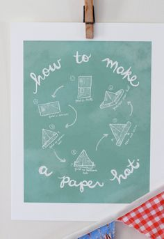 Children's Wall Art Print - How to Make a Paper Hat - 8x10 - Kids Nursery Room Decor. $26.00, via Etsy.