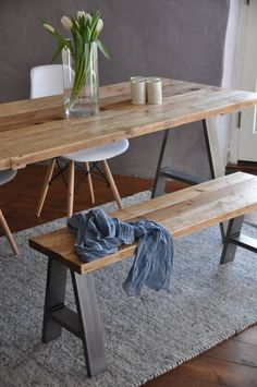 Dining Table & Bench Reclaimed Industrial Rustic Custom A FRAME Steel legs Bespoke Dining set Vintage Scaffold Board Table Furniture Decor, Furniture, Reclaimed Wood Dining Table, Table Furniture, Dining Table With Bench, Dining Table, Industrial Wall Decor, Industrial Interiors, Wood Table Rustic