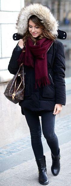 Marianna Mäkelä : Acne scarf in wine, Zara black puffer jacket, dark skinny jeans, Louis Vuitton Neverfull bag  black ankle boots
