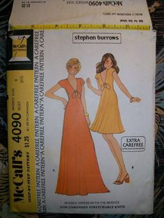 McCall's Vintage 70s Pattern 4090 Misses' Long Short Stretch Knit Low Cut Dress
