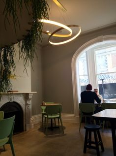have a look at the beautiful rings of Saturn lights designed by one of the owners Nathan Toleman (an interior designer by training) and Fitzroy lighting designers Christopher Boots. --The Kettle Black, 50 Albert Rd, South Melbourne-