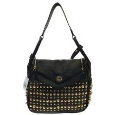 Gold Studded Fashion Shoulder Bag Black