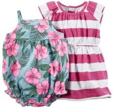 Carter's Infant Girls Baby Outfit Hawaiian Bodysuit & Pink Stripe Dress 3m