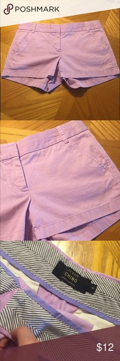 J. Crew shorts Cute lavender J. Crew chino shorts. They appear pink in the pictures but they are actually light purple. Size 4, in very good condition! J. Crew Shorts