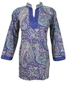 Indian Tunic Top Womens Kurti Ink Blue Printed Short Kurta Blouse M Sz Mogul Interior http://www.amazon.com/dp/B00VA19LY4/ref=cm_sw_r_pi_dp_jpFivb1Z55ASN