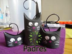 Gatitos decorativos con rollos de papel