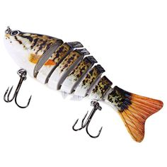 Main Features: - 7 segments fishing lure. - 2 strong and sharp treble hooks. - 3D eyes. - High resolution body details. - Smooth and rapid diving action. - Life-like swimming actions in water to provo                                                                                                                                                                                 More