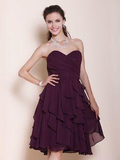 Knee-length Chiffon Bridesmaid Dress - Grape Plus Sizes / Petite A-line / Princess Strapless / Sweetheart - USD $69.99