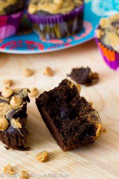 Healthier not necessarily  skinny ... Chocolate Peanut Butter Swirl Cupcakes by sallysbakingaddiction.com