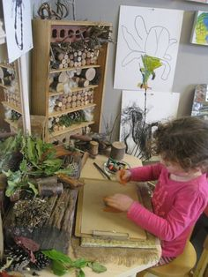 Exploratory, open ended nature table at Natures Play Preschool Reggio Inspired Classrooms, Reggio Classroom, Outdoor Classroom, Classroom Design, Preschool Classroom, Reggio Emilia, Nature Activities, Nature Table, Outdoor Learning