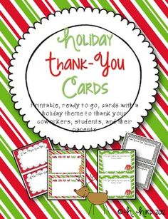 Holiday Thank You Cards {FREE}