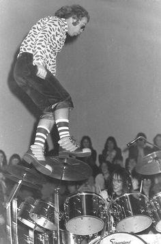 Elton John jumping off his piano at Watford Town Hall in 1972.