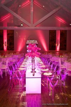 Great glow and hot pink - love the long tables for teen dining - so much better than big rounds